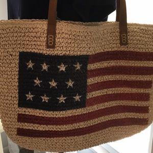 NWOT Straw, lined, Flag bag